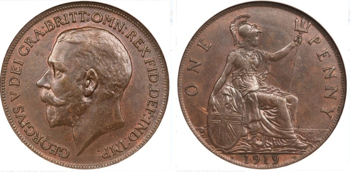 1911-1926 GB & Ireland, George V, Obverse Type 1, bronze penny
