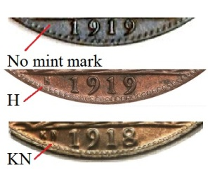 1918 and 1919 GB & Ireland George V bronze penny mint marks