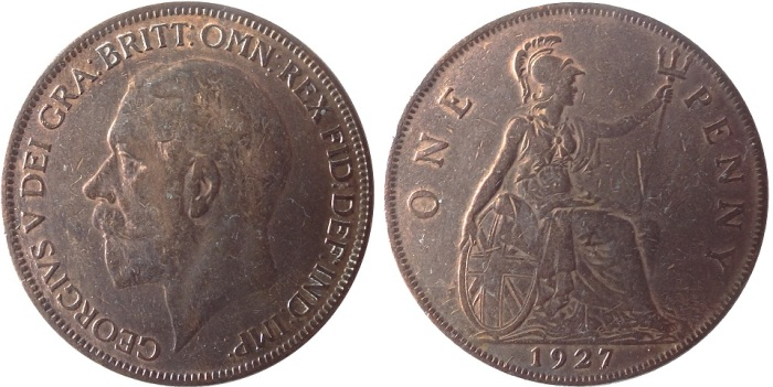 1926-1936 GB & Ireland, George V, Obverse Type 2, bronze penny