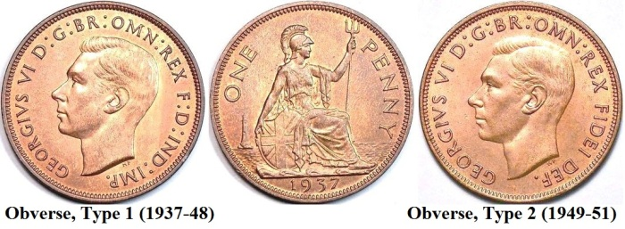1937-51 GB & Northern Ireland bronze penny (George VI)
