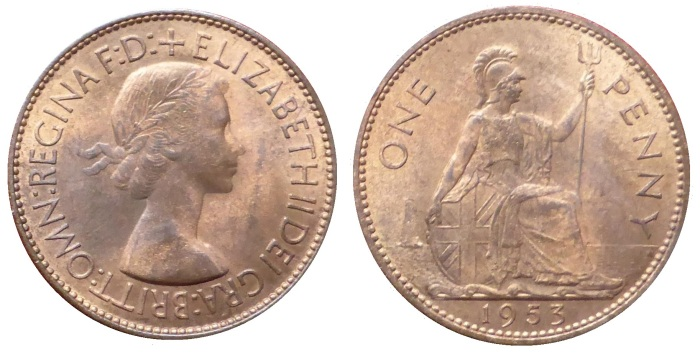1953 GB & Northern Ireland bronze penny