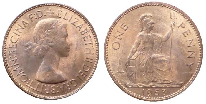 1953 GB & Northern Ireland bronze penny