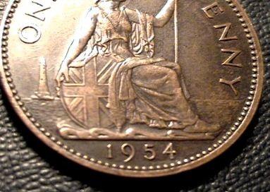 1954 Elizabeth II bronze penny (eBay fake)