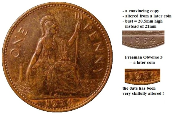 1954 Elizabeth II bronze penny (fake, with detail)