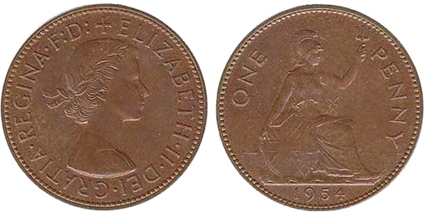 1954 Elizabeth II bronze penny