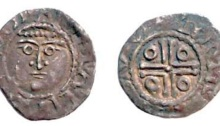 John (as Lord), Third coinage, Halfpenny, Dublin, Moneyer Thomas. rev. double cross pommée, THOMAS ON DV, DF 42 S.6207