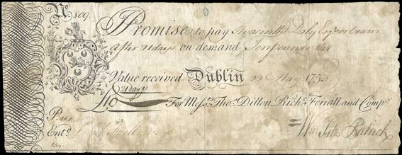 Dillon & Co, Ten Pounds, 22 May 1753, no. 809, for Thomas Dillon, Richard Ferrall and Co, signed by William Fitz Patrick