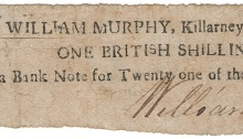 1797 Killarney, William Murphy, One British Shilling, 7 March 1797, signed by William Murphy