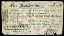 1802 Dublin, Beresfords Bank, contemporary forgery of Bank Post Bill for Three Guineas, 14 December 1802, stamped forgery
