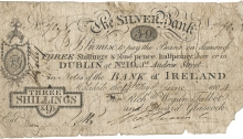 1804 Malahide, Co Dublin - The Silver Bank, Three Shillings & Ninepence Halfpenny, payable in Notes of the Bank of Ireland
