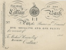 1806 Callan Bank (Michael Hearn) One shilling & one penny - Unissued facsimile