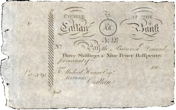 180_ Callan Bank, Three Shillings and Ninepence-Halfpenny, 180–, unissued, for Michael Hearn