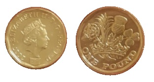 It appears that the 12-sided £1 coin die has been struck on an old round £1 coin blank (or flan).