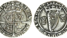 Ireland, Henry VIII (1509-47), Groat, first harp issue, with Katherine Howard (1540), 1.96g, m.m. crown, crowned coat-of-arms, rev. crowned harp between royal cypher h k (S.6474)