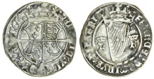 Ireland, Henry VIII (1509-47), Groat, second harp issue, King alone (1540-2), 2.51g, m.m. trefoil, crowned coat-of-arms, rev. crowned harp between royal cypher h r (S.6479), near very fine.