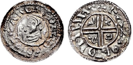 IRELAND, Hiberno-Norse silver penny. Sihtric III Olafsson. 995-1036. (22mm, 1.60 g, 9h). Phase I, Class A coinage, Crux type. Difelin (Dublin) mint signature; 'Fastolf,' moneyer. Struck circa 995/7-1020. + EDELRED REX ΛNG, draped bust right; scepter before / + FΛZTΘL–DINLIИ–, voided cross; C R V X in angles. SCBI 8 (BM), 9-11 (same dies); SCBI 22 (Copenhagen), 5 (same dies); SCBI 32 (Belfast), 14 (same dies); SCBC 6102. Good VF, attractively toned, legends weakly engraved. Very rare.