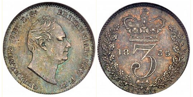 1835 GB & Ireland silver threepence (William IV). The Old Currency Exchange, Dublin