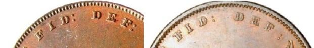 1847 GB & Ireland Copper Penny (Victoria) - closed colon & space before colon varieties