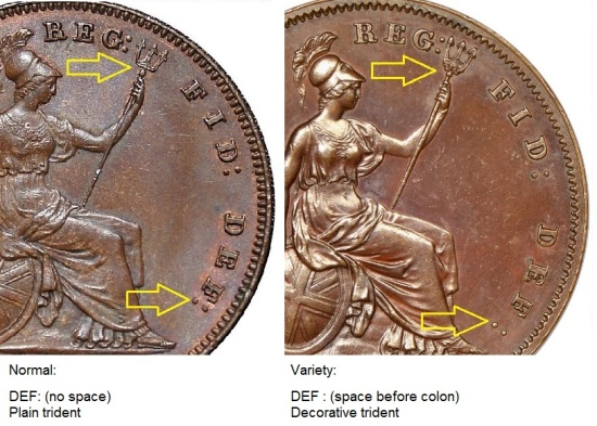 1851-1857 GB & Ireland Copper Penny - DEF: spacing & trident varieties. (The Old Currency Exchange, Dublin)