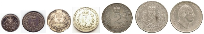 British Guiana coinage 1832-36 with values in guilders and King William IV on the obverse. (The Old Currency Exchange, Dublin)