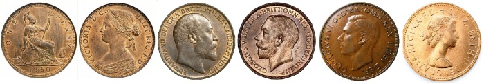 GB & Ireland Bronze Pennies. (The Old Currency Exchange)
