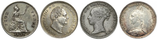 GB & Ireland silver groats. (The Old Currency Exchange)