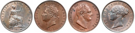 GB & Ireland copper halfpennies. (The Old Currency Exchange, Dublin)