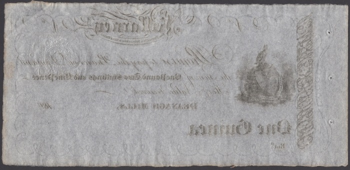 c. 1804 Deenagh Mills, Killarney, One Guinea (One pound, two shillings & ninepence) reverse embossed