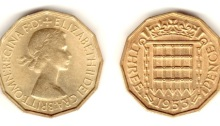 Type 1 Obverse, 1953 GB brass threepence
