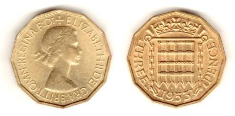 Type 1 Obverse, 1953 GB brass threepence