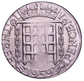 1959 GB & Northern Ireland brass threepence (Elizabeth II) minting error