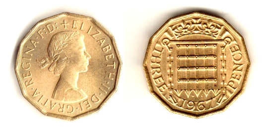 Type 2 Obverse, 1967 GB brass threepence