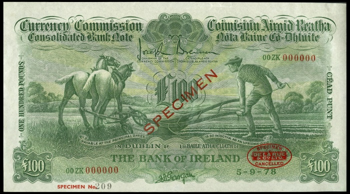 £100 ploughman, Bank of Ireland, One Hundred Pounds, specimen 1978 obverse