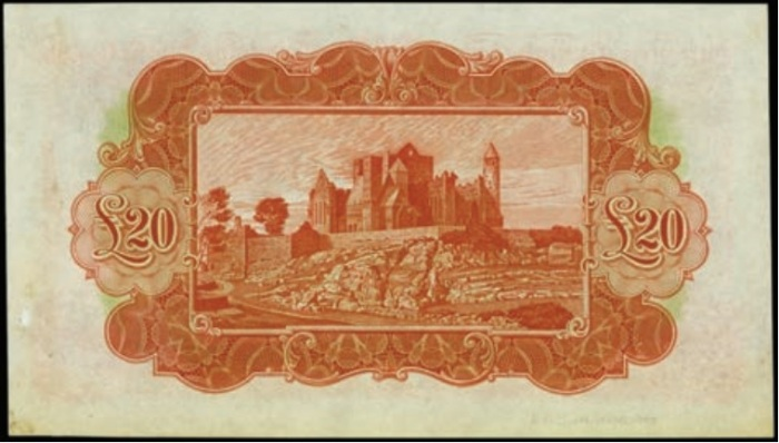 £20 Ploughman - Color trial specimen in orange and multicolored printed by TDLR (reverse)