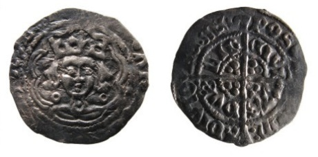 A silver, medieval, half groat of Edward IV AD.1461-1483, first reign, AD.1461-1470, Irish issue, Heavy Portrait 'Cross and Pellets' coinage. Dublin mint, Spink 6354 Obverse, bust of king facing with annulets beside neck, pellet on neck, [...]WAR[...]IE Reverse, Long cross with three pellets in angles, outer legend, POS[VI:/ DEV]M:/ADIVTO/RE: MEV inner legend CIVI/TAS/DVB/LIE