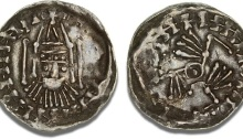 Hiberno-Norse coinage, c. 1065 - 1095, Penny, Dublin, Phase V, Facing bust, birds type