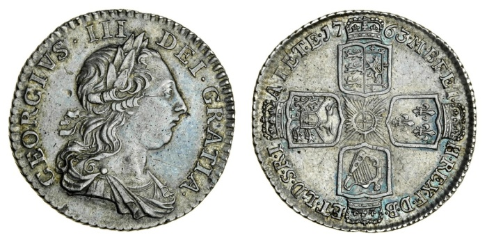 1763 'Northumberland' shilling (2,000 distributed in Ireland + c. 98,000 circulated in Britain)