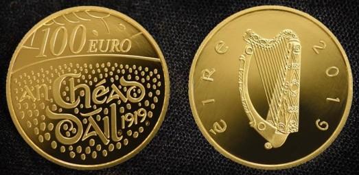 2019 €100 proof gold coin - Centenary of the First Dáil Éireann
