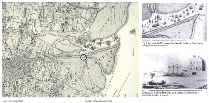 Maps and views of Poolbeg Harbour (Dublin Port), by John Rocque, c. 1760-1770