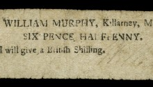 1797 Killarney, William Murphy, Sixpence ha'penny, 7 March 1797, signed by William Murphy. The Old Currency Exchange, Dublin, Ireland.