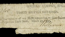 1797 Killarney, William Murphy, Three British Shillings, 17 March 1797, signed by William Murphy. The Old Currency Exchange, Dublin, Ireland.