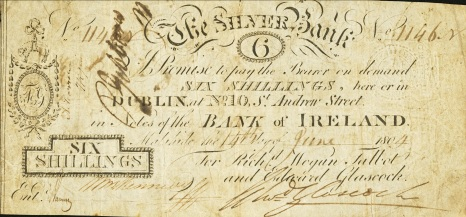 1804 Malahide, Co Dublin - The Silver Bank, Six Shillings, payable in Notes of the Bank of Ireland. The Old Currency Exchange, Dublin, Ireland.