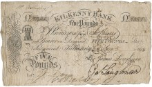 1818 Kilkenny Bank, Five Pounds Sterling, dated 11 November 1818, for James Loughnan, signed by him. The Old Currency Exchange, Dublin, Ireland.