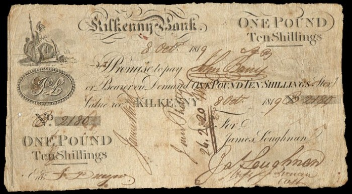 1819 The Kilkenny Bank. One pound & ten shillings, dated 8th October 1819, signed by James Loughnan
