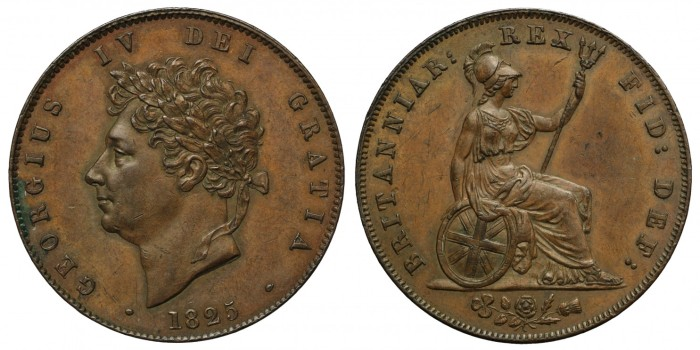 1825 George IV copper halfpenny