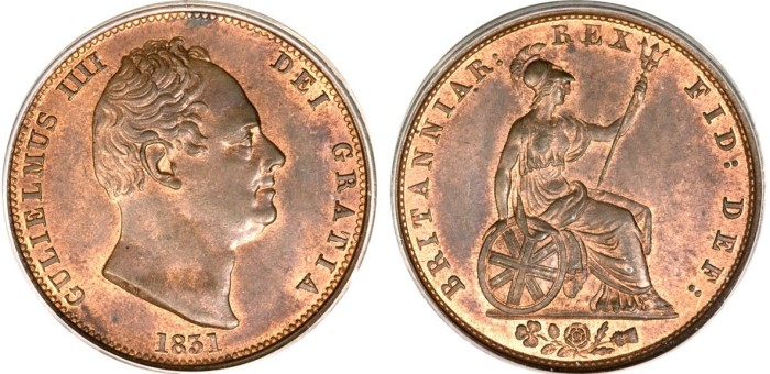 1831 GB & Ireland copper halfpenny (William IV)