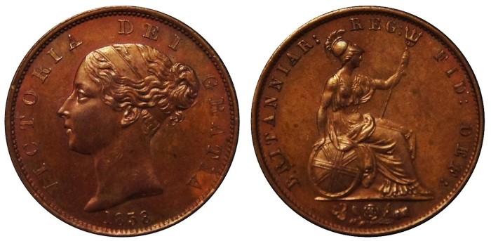 1838 GB & Ireland copper halfpenny (Victoria)