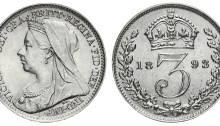 1893 GB & Ireland silver threepence - Victoria (Veiled Head). The Old Currency Exchange, Dublin.