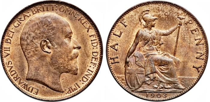 1903 GB & Ireland - Bronze Halfpenny - Edward VII. The Old Currency Exchange, Dublin.