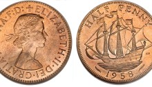 1958 GB & Northern Ireland Elizabeth II bronze halfpenny